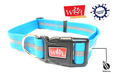Reflective, Waterproof, Stink Free, Adjustable and Durable Collar For Dogs - 2 Year Warranty- Neon Blue, Medium Size