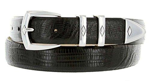 The Canyon Men's Italian Leather Designer Dress Belt (50, Lizard Black)