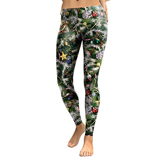 AICHESON Xmas Tree Patterned 3D Printed High Waist Womens Leggings L (Christmas Tree Down Burnt)