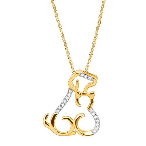 (Cat & Dog Pendant Necklace with Diamonds in 10K Gold)