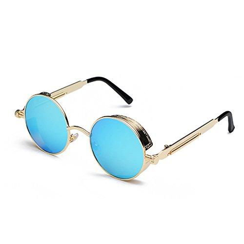 Dorado Lente círculo sol de de sol metal de Marco Gafas color de moda de Azul Gafas retro de Yefree pw6U8qw