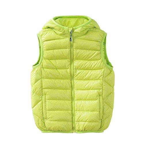 M2C Boys Girls Front Zip Packable Hooded Down Puffer Vest 4T Fruit Green - Front Zip Puffer
