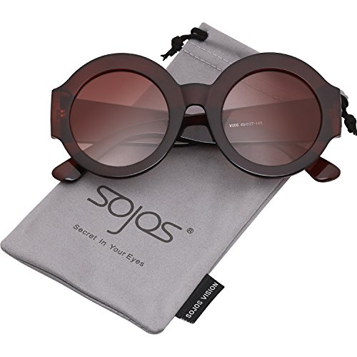 SojoS Oversized Clout Goggles Shades Round Thick Frame Women Sunglasses SJ2047 with Brown Frame/Gradient Brown (Plastic Oversized Round Sunglasses)