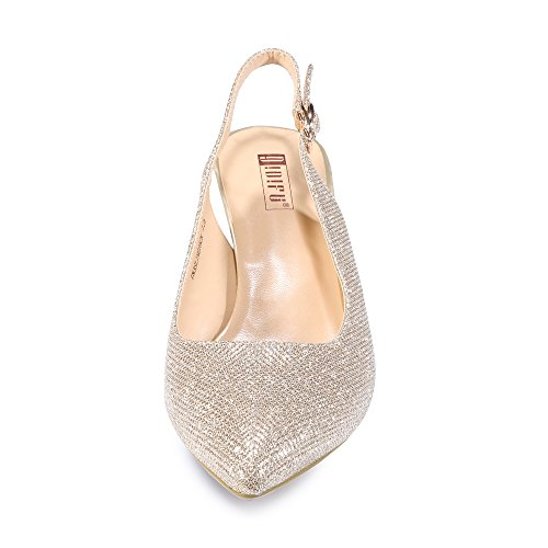 Dress Heel Idifu Slingback Gold Mid Toe In3 Women's Glitter Pump Pointed wYBUq0w