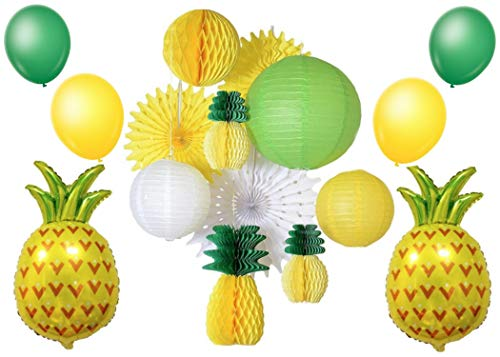 Tropical Party Decorations Set | Pineapple Party Decorations | Luau Party Supplies | Hawaiian Themed Honeycomb Kit | Perfect for Birthdays, Weddings, Bachelorette Parties, Engagement Parties, Baby Sho
