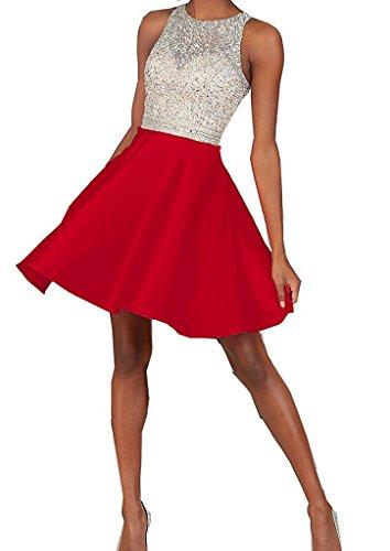 Vestidos de novia elegante en forma de corazón de la Toscana por la noche la gasa vestido corto fútbol vestidos fiesta Rojo