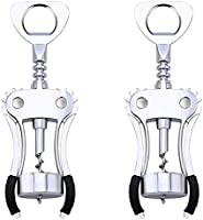 LQIQI Sacacorchos Automatico Sacacorchos Vino Tipo Bodega Camarero con Doble Palanca Espiral Y Descapsulador En Acero Aleación De Zinc Multifunción Winged Sacacorchos para Botellas