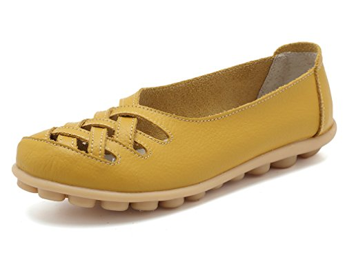 KEESKY Womens Ladies Leather Casual Cut Out Loafers Flat Slip-on Shoes Yellow Size 8.5