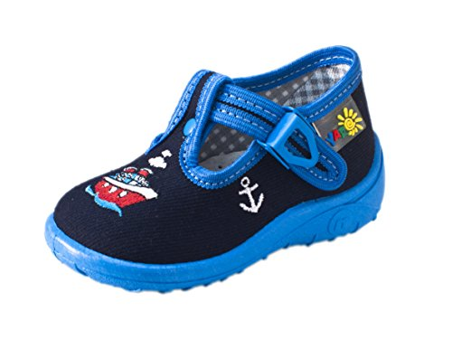 Yaro - Zapatillas de estar por casa de algodón para niño blau/Schiff