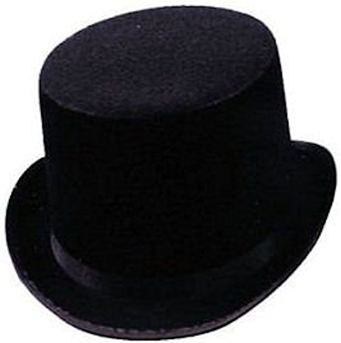 [Black Felt Top Hat Steampunk Accessories for Men & Women and Cosplay Dress Up] (White Top Hat Fascinator)