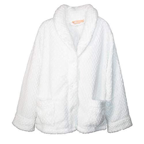 - La Cera Women's Button Front Bed Coat, Medium, White