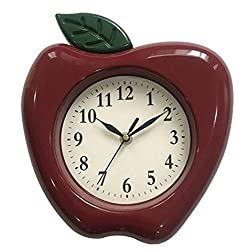Apple Wall Clock 10 x 9 Home Decor Kitchen Decor (Red)