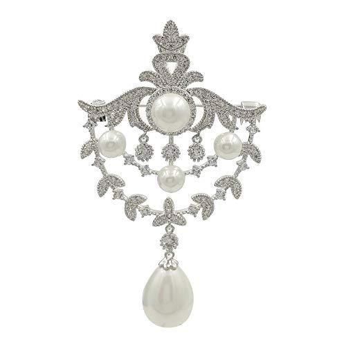 - DREAMLANDSALES Royal Vintage Silver Tone Double Loop Foiled Mother of Pearl Drop Brooches Pins