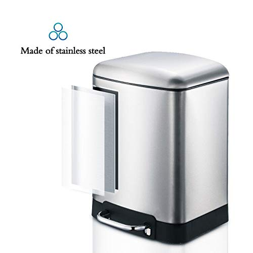 1.6 Gallon 6L Rectangular Step Kitchen Trash Can Pedal Dust Bin Trash Box Recycle Bin Waste Basket Garbage Disposal Bin Trash Container with Lid Trash Bin Liner Stainless Steel Silver (Simplehuman Trash Can 6 Liter)