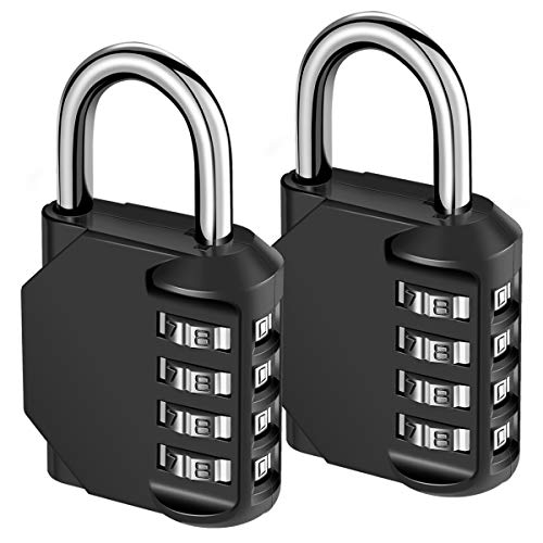 KeeKit Combination Lock, 4 Digit Combination Padlock, Waterproof Gate Lock, Resettable Combo Lock for Locker, Gym, Cases, Toolbox, School, 2 Pack - Black (Best Padlock For Gate)