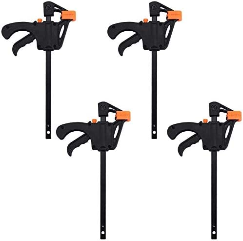 Mini Clamps 4 inch Pack of 6,Wood Clamps Quick Grip Ratchet Bar Clamps for Woodwork One Handed Easily Release F Clamps for Woodworking,Fixing Tool Quick Release for Wood Craft DIY