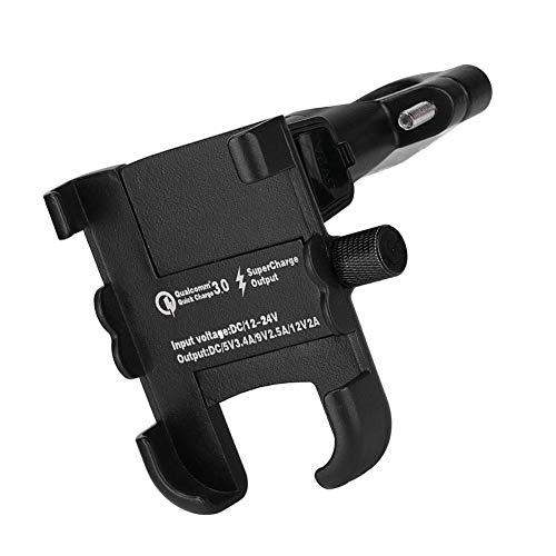 Phone Mount Holder, Motorcycle Handlebar Spring Shaft QC3.0 Fast Charging Aluminum Alloy Mobile Phone Bracket (Black) ()