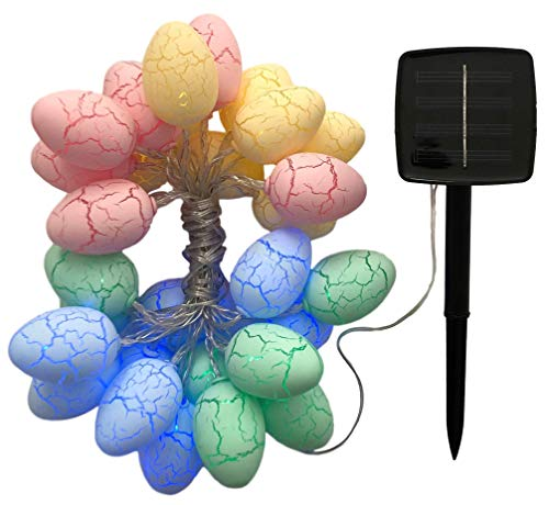 Easter Egg Outdoor Lights Decoration LED String Lights 20ft 30 COLORFUL Eggs SOLAR Battery Yard Family Festive Home Fairy Party Gift Celebration Marquee Wedding Patio Porch Pergola Garden Kids Party from Clifton Imports