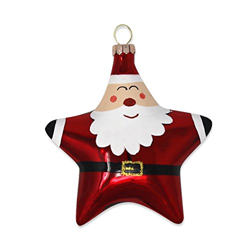 Santa Claus Star Shape 4 x 4 Inch Glass Christmas Ornament Figurine Star Santa Ornament
