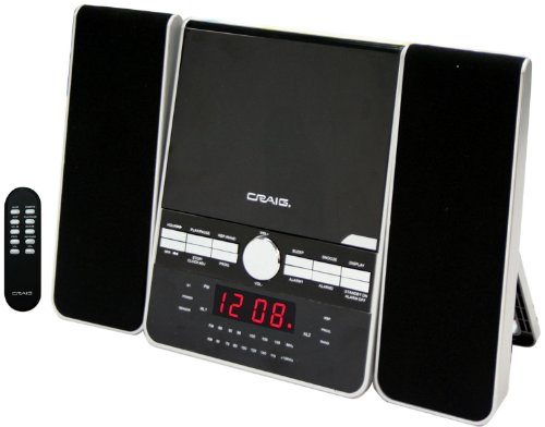 Craig Vertical CD Shelf System with AM/FM Stereo Radio and Dual Alarm Clock, 3-Piece Black (Vertical Compact)