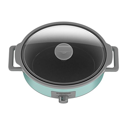 BLACK+DECKER SC2007D 7 Quart Dial Control Slow Cooker with Built in Lid Holder, Teal Wave