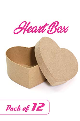 "Paper Mache Heart-Shaped Box - DIY Valentine Boxes for Crafts - 4.5"" x 4.5"" x 2"" (Pack of 12)"