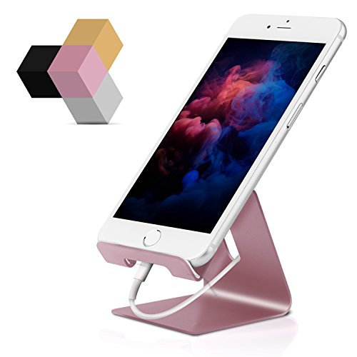 Cell Phone Stand, Portable Aluminum Desktop Cradle Holder Universal Smart Phone Dock for Tablets iPhone X 8 7 6 6s Plus Se 5 5s 5c iPad mini Samsung Galaxy Google Pixel Nintendo Switch,Rose Gold