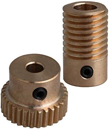 Yibuy 30T 0.5 Modulus 1:30 Brass Worm Wheel & 6MM Hole Dia Shaft Parts Kits