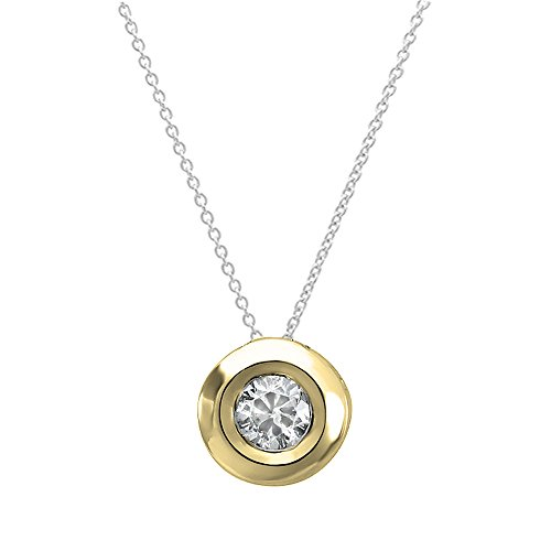 Dazzlingrock Collection 0.05 Carat (ctw) 18K Round Diamond Solitaire Ladies Pendant 1/20 CT, Yellow Gold