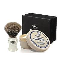 ALMOND - Taylor of Old Bonds Street Pure Badger Brush & Cream Set *Luxury Ivory brush with Almond Shaving Cream