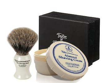 ALMOND - Taylor of Old Bonds Street Pure Badger Brush & Cream Set *Luxury Ivory brush with Almond Shaving Cream BeautyCentre