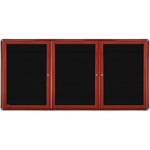 Ovation 3-Door Wood Look Felt Letter Board, 4' H x 6' W Surface Color: Black, Color: Chrome, Frame Finish: Cherry by Ghent