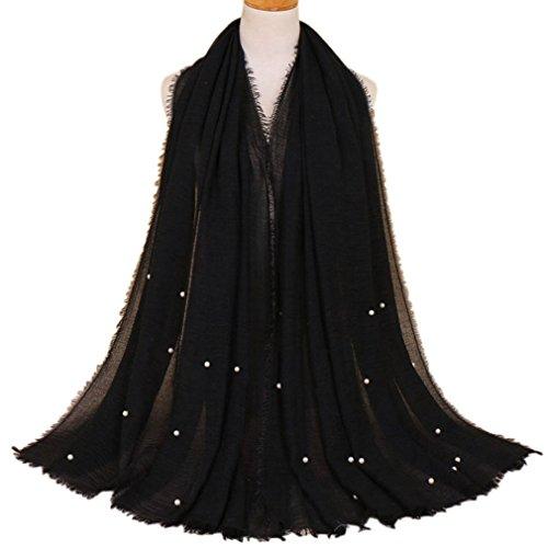 LMVERNA Women wrinke cotton beads scarves fashion solid color crinkled scarf hijab (Black)
