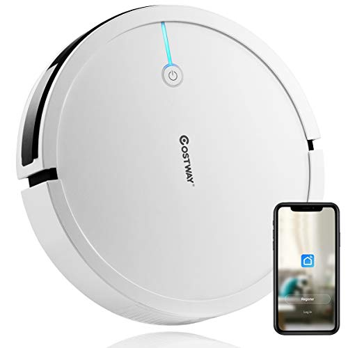 Costway Robot Vacuum, Smart 2000Pa Strong Suction Cleaner, App Controls & WiFi-Connected, HEPA Filter, Super Quiet Self-Charging Robotic Vacuum Cleaner for Pet Hair, Hard Floor & Thin Carpet(White)