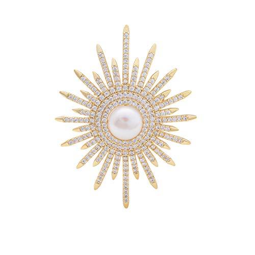 YYBONNIE Women's Rhinestone Crystal Freshwater Pearl Blooming Star Flower Brooch covid 19 (Pearl White Gold Brooch coronavirus)