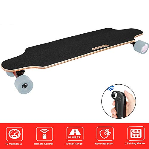 hamzka Skateboard with Remote Control Dual Motor 250W Longboard 7 Layers Maple Waterproof E-Skateboard for Kids Boys Blue
