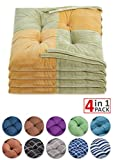WONDER MIRACLE 4 in 1 Pack Chair Pads   Seat Cushion,Machine Wash & Dryer Friendly (F-Mix Color 16
