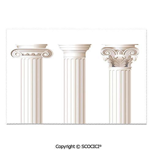 SCOCICI Set of 6 Durable Polyester Place Mats Heat Resistant Table Mats Architecture Theme Design Ionic Doric and Corinthian Marble Columns Print for Party Kitchen Dining Table