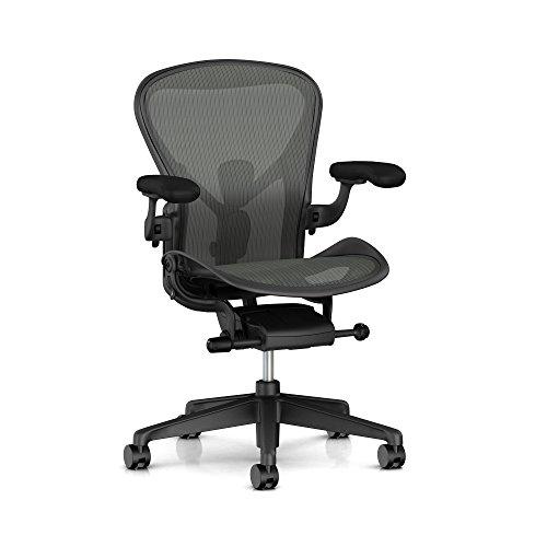 Herman Miller Aeron Task Chair: Tilt Limiter - PostureFit SL - Fully Adj Arm - Black Vinyl Armpad - Carpet Caster by Herman Miller