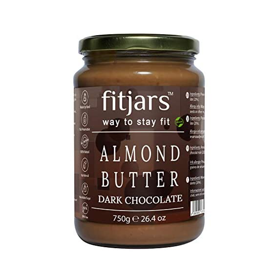 FITJARS Almond Butter with Dark Chocolate, 750 Gm (Almond Butter 80%, Dark Chocolate 20% All Natural Stone Ground Vegan Diet Butter)