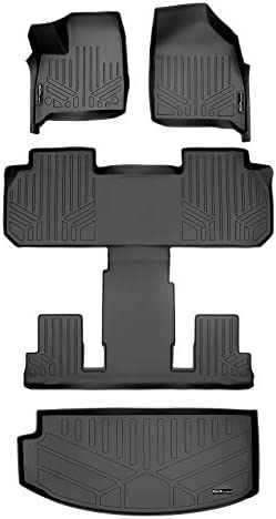 MAXLINER All Weather Custom Fit 2 Row & Cargo Liner Behind the 3rd Row Black Floor Mat Liner Set Compatible With 2018-2021 Buick Enclave (Only fits with 2nd row bucket seats)