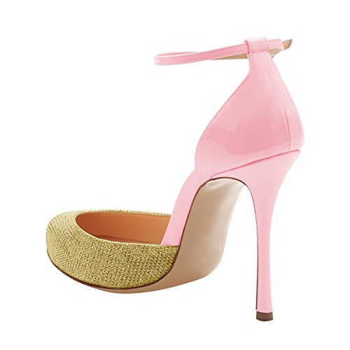 official site cheap online discount reliable FSJ Women Fashion Almond Toe Ankle Strap D'Orsay Pumps High Heels Party Prom Sandals Size 4-15 US Pink outlet prices wide range of cheap online cheap 100% authentic A8hDU3