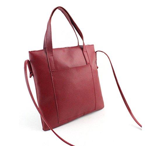 Brown Bag Shoulder Fashion Women Large Red Tote Ladies Kolylong Handbag nUHqpwWxfF