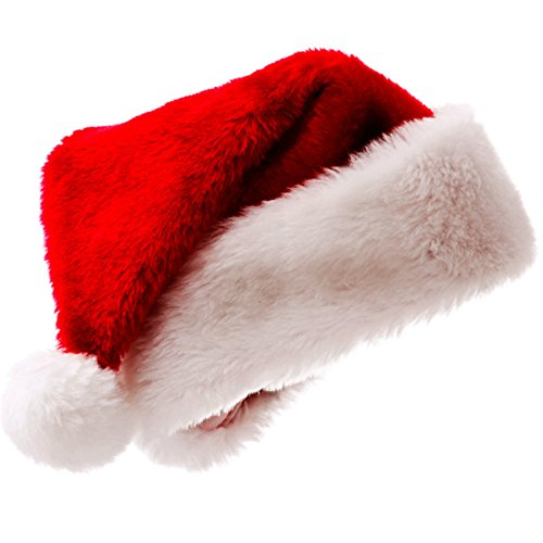 Phonbe8 Christmas Costume Santa hat Hairy Hat with Plush Red Warm For Christmas Parties