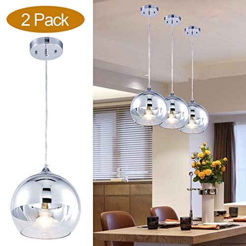 TZOE Glass Pendant Lighting for Kitchen Island, 9'' Hand Blown Glass Hanging Light, Polished Chrome Pendant Light,Height Adjustable Mirror Ball Pendant Lighting,(2 Pack) UL Listed