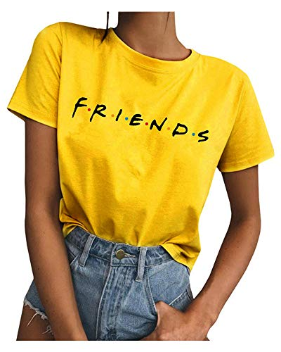 Qrupoad Womens TV Show T Shirts Summer Casual Short Sleeve Graphic Shirt Tees Tops Yellow ()