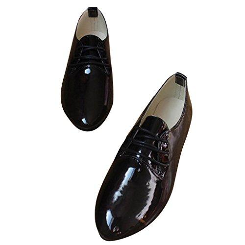 Dear Time Women Lace Up Patent Leather Flats Shoes Black pwTs3