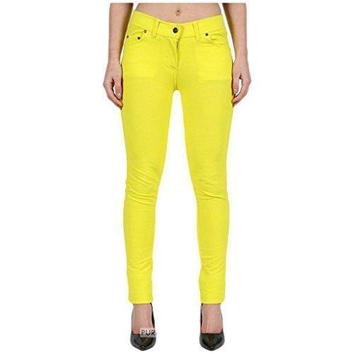 slim pantalon jeggings uni 8 26 coupe 18 Curvy grande lastique FASHIONCHIC clair taille Jaune disponible fermeture skinny color habill Femmes couleurs qBI5P7wA