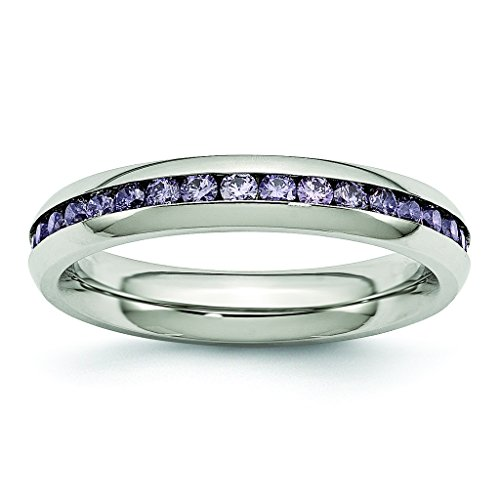 4mm Stainless Steel High Polish Finish Channel Set February Purple CZ Eternity Band - Size 8 (Set Channel Purple)