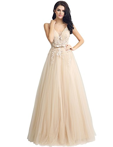 Sarahbridal Womens V-Neck and V-Back Wedding Party Dresses Sequin Applique Tulle Prom Evening Gowns Champagne US4